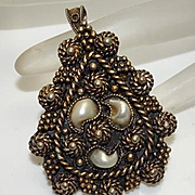 Fancy Etruscan Sterling Silver Gold Cultured Pearl Pendant Pin