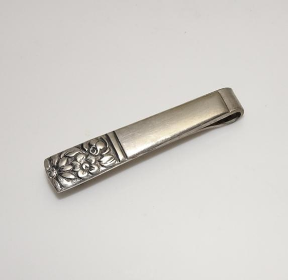 Vintage Towle Sterling Silver Contessina Floral Tie Clip