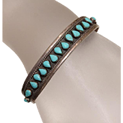 Vintage Mexican Needlepoint Turquoise Sterling Silver Cuff Bracelet