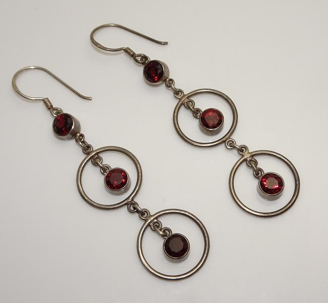 Long Vintage Modernist Sterling Silver Red Garnet  Drop Dangle Earrings