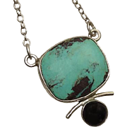 Modernist GFMW Great Falls Metal Work Pendant Necklace Onyx Turquoise
