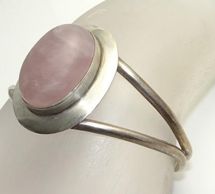 Vintage Mexican Sterling Silver Rose Quartz Cuff Bracelet