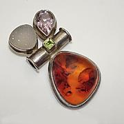 Vintage  Sterling Silver Amber Amethyst Gemstone Slider Pendant