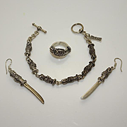 Highlander Sterling Silver Dragon Dagger Knife Bracelet Earrings Ring Set