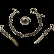 Highlander Sterling Silver Dragon Dagger Knife Bracelet Earrings Ring Set JUST REDUCED!
