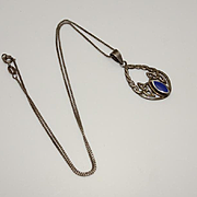 Vintage Sterling Silver Celtic Pendant Blue Stone JUST REDUCED!