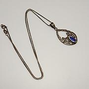 Vintage Sterling Silver Celtic Pendant Blue Stone