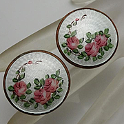 Large Vintage Guilloche Pin Rose Clip On Earrings