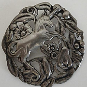 Ornate Vintage Sterling Silver Unicorn Pin Flowers and Fruit