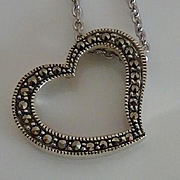 Signed Judith Jack Sterling Silver  Marcasite Heart Slider Necklace
