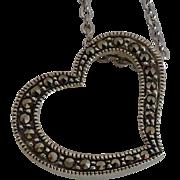 Signed Judith Jack Sterling Silver  Marcasite Heart Slider Necklace