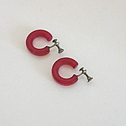 Candy Apple Red Vintage Bakelite Hoop Earrings Screw Back