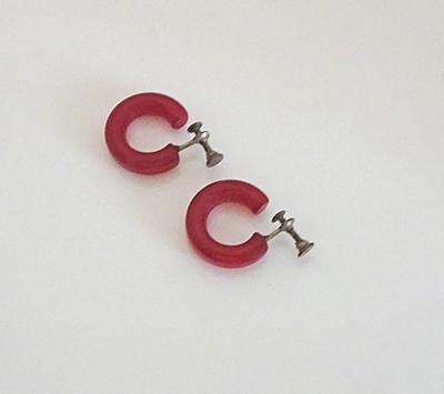 Candy Apple Red Vintage Bakelite Hoop Earrings Screw Back