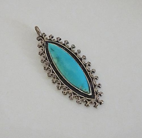 Fancy Sterling Silver Turquoise Necklace Pendant