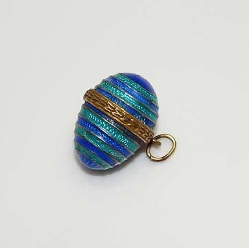 Vintage  Sterling Silver Gold Wash Guilloche Blue Green Egg Pendant Charm