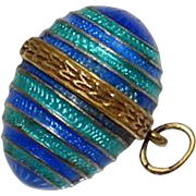 Vintage  Sterling Silver Gold Wash Guilloche Blue Green Egg Pendant Charm