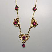 Vintage Art Nouveau Red Glass Enamel Drop Necklace