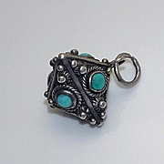 Vintage Sterling Silver Turquoise Etruscan Charm Fob JUST REDUCED!