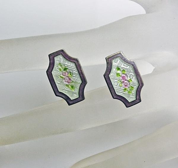 Antique  Guilloche Sterling Silver Cufflinks Pink Roses Pale Green Background JUST REDUCED!