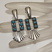 Vintage Sterling Silver Turquoise Screw Back Drop Earrings JUST REDUCED!