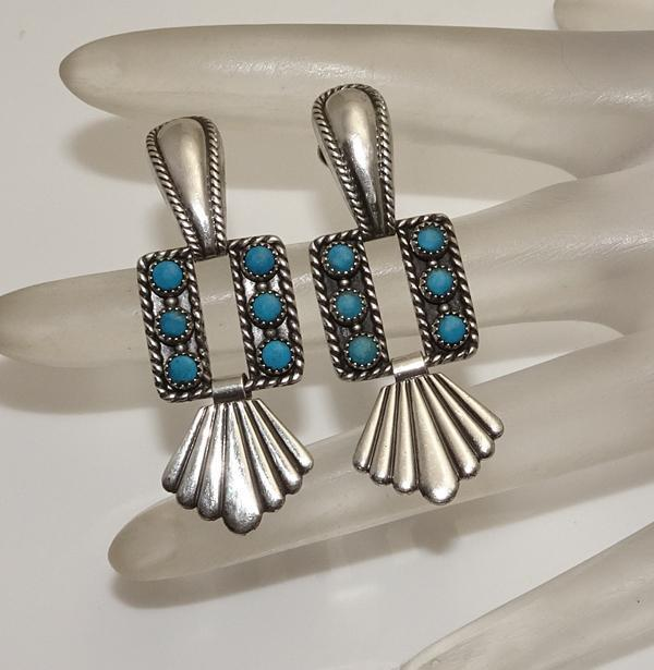 Vintage Sterling Silver Turquoise Screw Back Drop Earrings