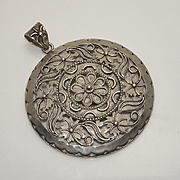 Large Vintage Sterling Silver Floral Flower Pendant Made in India JUST REDUCED!