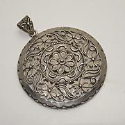 Large Vintage Sterling Silver Floral Flower Pendant Made in India
