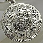 Large Vintage Sterling Silver Mexican Aztec Calendar Pendant