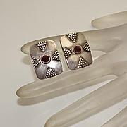 Vintage Sterling Silver Garnet Cuff Links