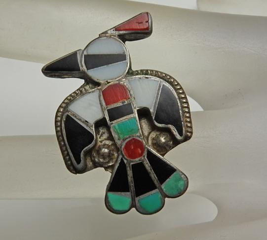 Vintage Native American Sterling Silver Zuni Thunderbird Inlay Pin Turquoise Jet Mop