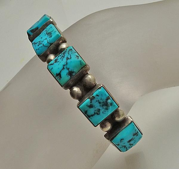 Vintage Chunky Turquoise Native American Indian Navajo Sterling Silver Cuff Bracelet