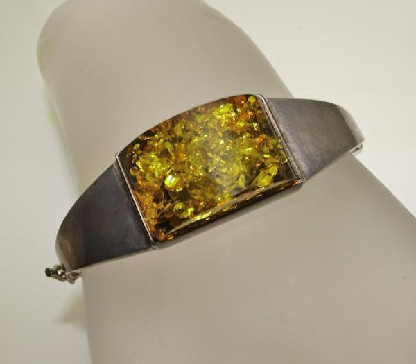 Vintage Chunky Amber Sterling Silver Bracelet