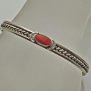 Vintage Sterling Silver Coral Navajo Indian HRM Harry R. Morgan Cuff Bracelet