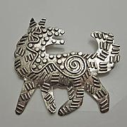 Large Sterling Silver Modernist Artisan Dog Pin Brooch