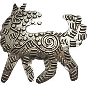 Large Sterling Silver Modernist Artisan Dog Pin Brooch