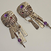 Long Sterling Silver Modernist Artisan Amethyst Garnet Dangle Earrings
