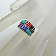Turquoise Coral Sterling Silver  Lapis Channel Carved Ring QT