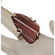 Banded Agate Sterling Silver Modernist Barse Ring Big Face