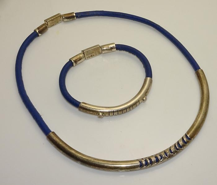 Vintage Mexican Taxco Sterling Silver Blue Leather Necklace Bracelet Set