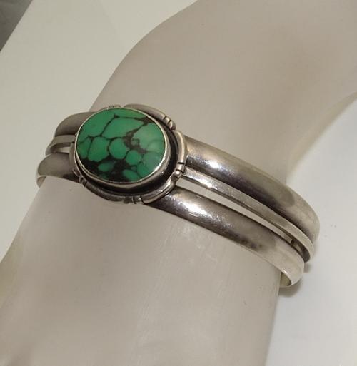 Vintage Native American Indian Sterling Silver Navajo Cuff Bracelet