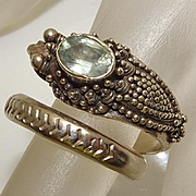 Bali Sterling Silver Topaz Dragon Wrap Ring
