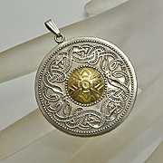 Sterling Silver 14K Gold Celtic Snake Irish Pendant