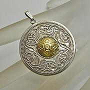 Sterling Silver 14K Gold Celtic Snake Irish Pendant