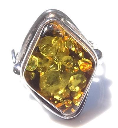 Vintage Modernist Green Gold Amber Sterling Silver Ring