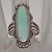 Vintage Indian Long Face Sterling Silver Turquoise Ring