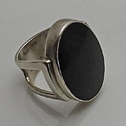 Modernist Sterling Silver Onyx Signed Lynde Ring