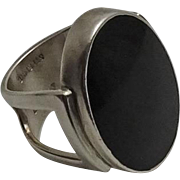 Modernist Sterling Silver Onyx Signed Lynde Ring
