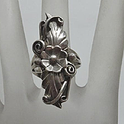 Handmade Native American Indian Navajo Sterling Silver Long Face Flower Ring ROBERT BECENTI