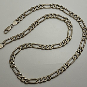 Vintage Heavy Sterling Silver Textured Figaro Chain Necklace 24 and 1/2 inch 61 Grams