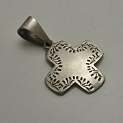 Vintage Sterling Silver Mexican Cross Pendant
